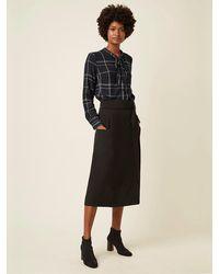 Great Plains Camisa De Corbata A Cuadros Agnes En Azul Marino - Negro