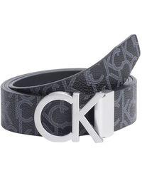 Calvin Klein Reversible Monogram Belt Black - Multicolour