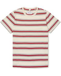 Albam Heritage Stripe Tee Red Tan Navy - Rosso