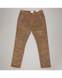 Farah - Pantalones de pana de corte regular en beige de olmo - Lyst