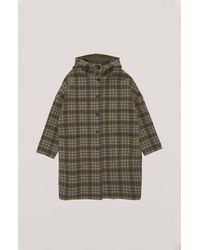 YMC Cocoon Hood Coat Olive Check - Multicolour