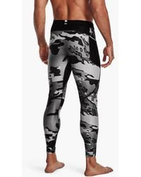 Under Armour Heat Gear Iso Chill Print Leggings Black Pitch Gray