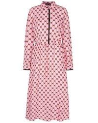 Markus Lupfer Blair Iconic Lip Drawstring Waist Dress - Rose