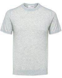 SELECTED Col ras du cou en tricot gris clair chiné Dale