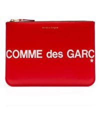 Comme des Garçons Red Cowhide SA 8100 Cartera con cremallera con logo enorme - Rojo