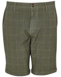 Barbour - Shorts verdes de cuadros sobreteñidos - Lyst