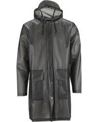 Rains The Foggy Black Waterproof Unisex Hooded Coat - Grey