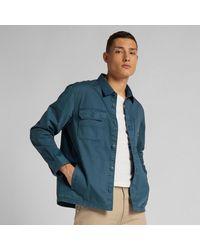 Lee Jeans Blaugrünes Überhemd mit Boxtasche