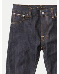 Nudie Jeans Jeans denim da uomo finn dry comfort finnage asciutto in cotone organico - Blu