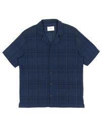 Folk Short Sleeve Soft Collar Check Shirt Navy Overdyed Crepe - Blue