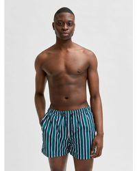 SELECTED Selected Stripe Bath Shorts - Blue