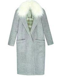 INTROPIA Fur Collar Coat - Gray