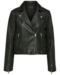 SELECTED Https://www.trouva.com/it/products/selected-femme-cropped-katie-leather-jacket-in-green-rosin - Nero