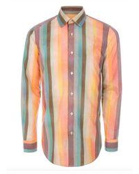 Paul Smith Camisa de algodón con estampado de rayas de artista para hombre - Multicolor