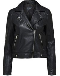 SELECTED Lamb Leather Jacket - Black