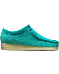 Clarks Wallabee Textile Teal Shoes - Blue