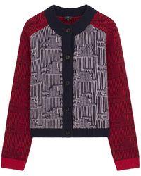 Paul Smith Textured-stripe Wool Cardigan Burgundy - Multicolour