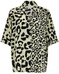 Être Cécile Chemise en soie à manches courtes léopard Seafoam - Noir