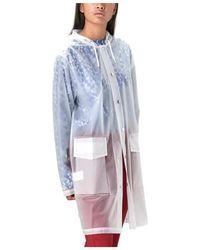 Rains Abrigo con capucha para mujer Foggy White de poliuretano y poliéster - Blanco