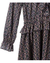 Maison Scotch Brown Long Sleeve Ruffle Dress