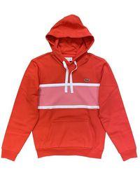 Lacoste Sudadera con capucha bimaterial con panel de piqué Rouge - Rojo