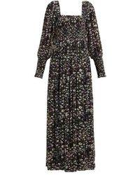 Ganni Robe longue froncée en georgette imprimé fleuri - Noir