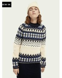 Maison Scotch Pullover lavorato a maglia Fairilse in misto lana pesante Navy - Blu