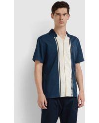 Farah Houston Casual Fit Short Sleeve Striped Shirt - Blue