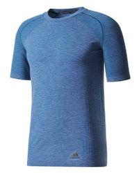 adidas Blaues Nacht Primeknit Wolle T-Shirt