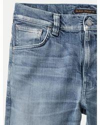 Nudie Jeans Grüne Bio-Baumwolle Lean Dean Worn Mens Denim Jeans - Blau