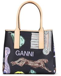 Ganni Coated Canvas Tote Bag Multicolor - Black