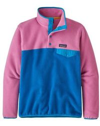 Patagonia Lw Synch Snap T Pull Over Marble Pink para mujer - Azul