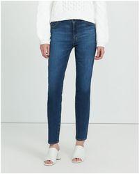 J Brand Jean droit taille haute Arca Teegan en nim moyen - Bleu