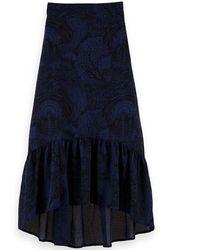 Scotch & Soda Navy Storytelling Maxi Skirt - Blue