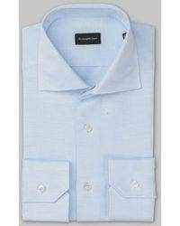 Ermenegildo Zegna Camicia di lino blu