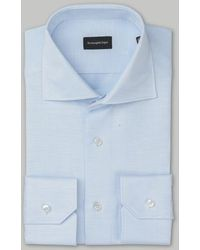 Ermenegildo Zegna Camisa de lino azul
