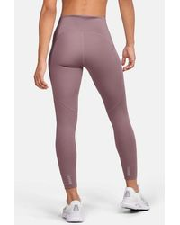 Under Armour Legging Qualifier Speed Pocket Perforated Crop Pink Leggings - Rosa
