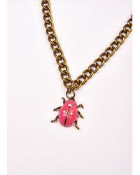 Essentiel Antwerp Pink Beetle Chain Necklace - Multicolour