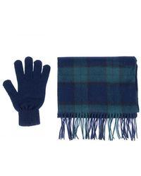 Barbour Set de regalo de bufanda y guante Reloj negro tartán - Azul