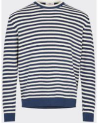 Minimum Marine Blue Stripes Sargasso Sea Hjuler Sweater