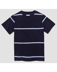 Saturdays NYC Indigo Stripe Randall T-Shirt - Blau
