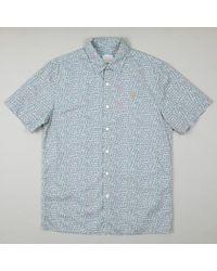 Farah Brooks Short Sleeve Printed Shirt - Blue