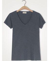 American Vintage Fog Gray Jacksonville V Neck T Shirt - Blue
