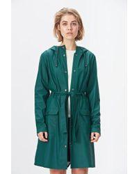Rains Dark Teal Curve Jacket - Green