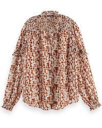 Scotch & Soda - Camisa estampada marrón transparente - Lyst