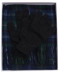Barbour Tartan Scarf And Glove Gift Set Seaweed Tartan - Blue