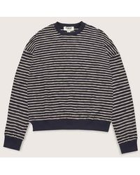 YMC Almost Grown Striped Cotton Sweatshirt Navy Ecru Made In Portugal - Blue