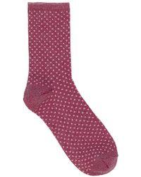 Becksöndergaard Dina Small Dot Sock In Raspberry Rose - Multicolor