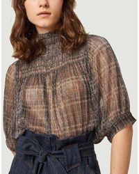 Sessun Cherry Song Smocking Top - Brown