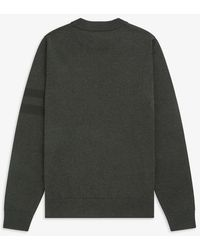 Fred Perry Tipped Sleeve Crew Neck Sweater Hunting Green